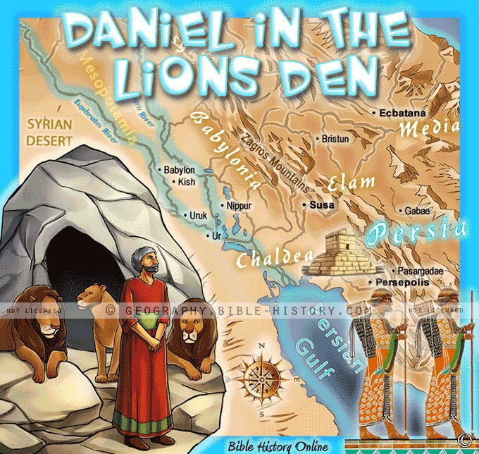 Map of Daniel and the Lions Den for Kids