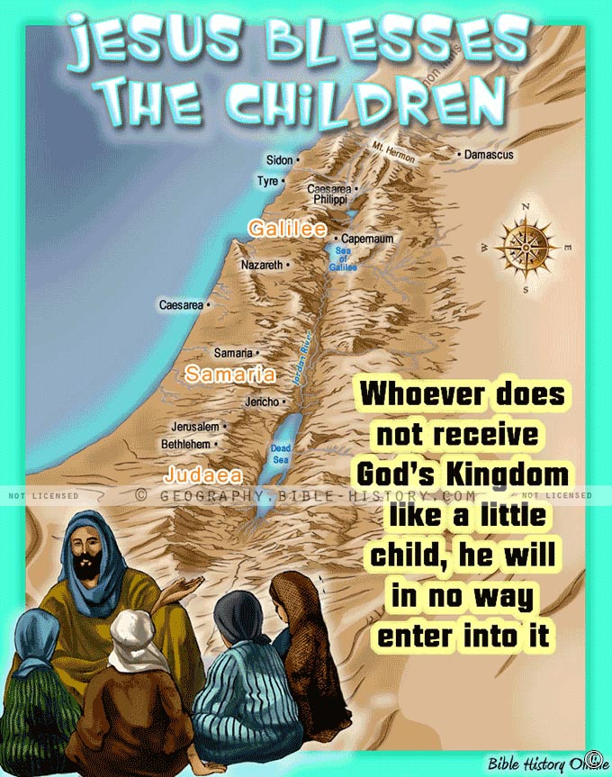 Map of Israel when Jesus Blessed the Little Children