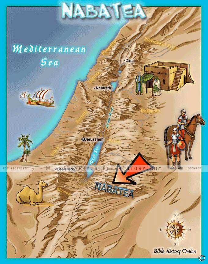 Map of Nabatea in the southern area of Ancient Israel