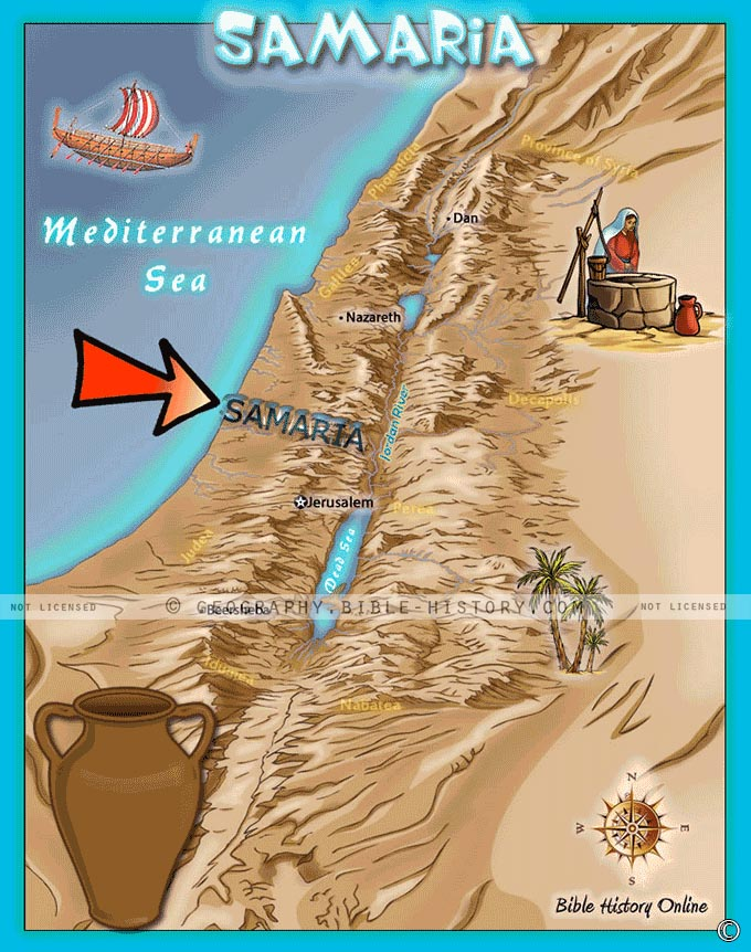 Map of the region of Samaria where Jesus passed through and spoke with the woman at the well