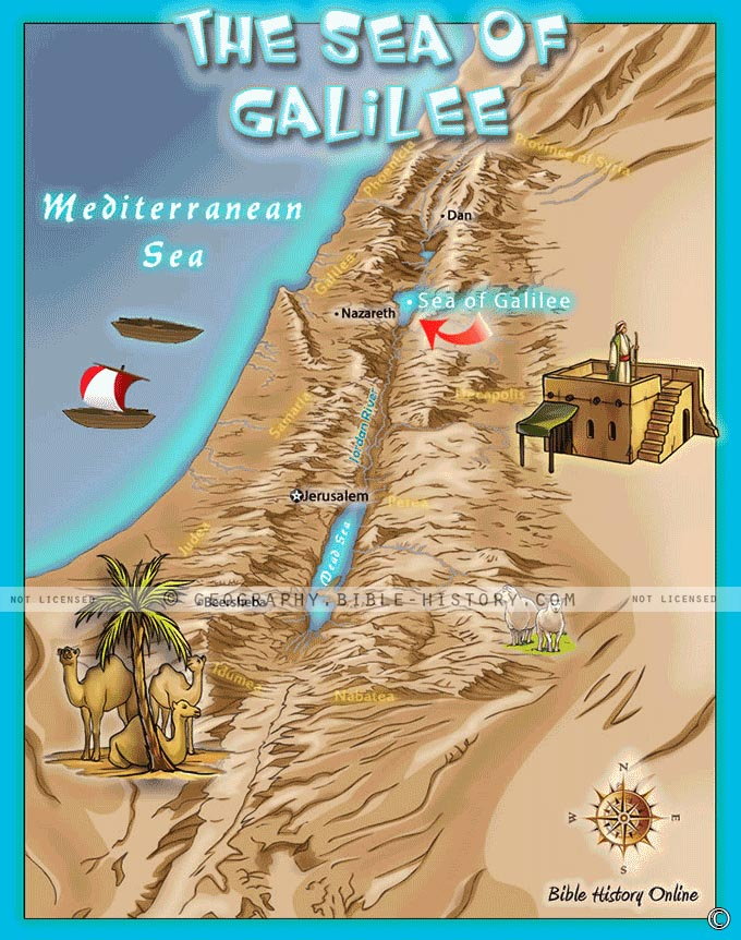 Map of the Sea of Galilee where Jesus performed many miracles